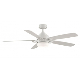 The Benito matt white cwiling fan with light by Fanimation