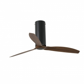 TUBE Black Glossy or Matt ceiling fan with DC motor and wood finish blades by FARO