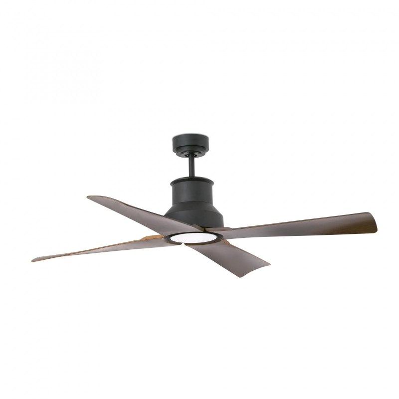 Outdoor Dc Motor Ceiling Fan Winche Black With Led Light By Faro