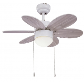 Rainbow White ceiling fan with light by Sulion