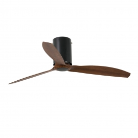 MIN TUBE Black glossy ceiling fan with DC motor and wood finish blades by FARO