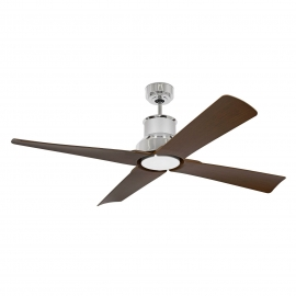 Outdoor DC Motor ceiling fan Winche Chrome with LED light by FARO