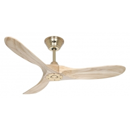 ECO GENUINO 122 Polished Brass Natural with DC motor and remote control by Casafan