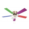 Kisa Antique Brass with light and multicolour blades suitable for low ceilings by Pepeo