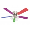 Kisa Nickel with light & multicolour blades suitable for low ceilings by Pepeo
