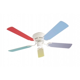 Kisa White with multicolour blades suitable for low ceilings by Pepeo