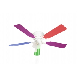 Kisa White with light & multicolour blades suitable for low ceilings by Pepeo
