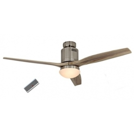 Aerodynamix Polished Chrome/Wood DC ceiling fan with light & remote control by Casafan